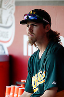 Josh Reddick #16 of the Oakland Athletics before a game against the Los Angeles Angels at Angel Stadium on September 10, 2012 in Anaheim, California. Oakland defeated Los Angeles 3-1. (Larry Goren/Four Seam Images)