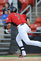 Hickory Crawdads Jake Skole #7 swings at a pitch during a game vs. the Hickory Crawdads at L.P. Franz Stadium in Hickory,  North Carolina;  April 7, 2011.  Hickory defeated Asheville 4-2.  Photo By Tony Farlow/Four Seam Images
