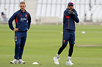 Murali Vijay (r) next to Jamie Porter of Essex warms-up prior to  Nottinghamshire CCC vs Essex CCC, Specsavers County Championship Division 1 Cricket at Trent Bridge on 10th September 2018