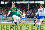 Gavin Crowley  Kerry in action against Ryan McAnespie Monaghan during the Allianz Football League Division 1 Round 5 match between Kerry and Monaghan at Fitzgerald Stadium in Killarney, on Sunday.