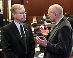 Nevada Sens. David Parks, D-Las Vegas, left, and Joe Hardy, R-Boulder City, talk on the Senate floor Tuesday, May 10, 2011, at the Legislature in Carson City, Nev..Photo by Cathleen Allison