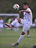 Julian Castellanos #13 of Glenn makes an over-the-shoulder kick during the second half of a Suffolk County League VI varsity boys soccer game against Southampton at Glenn High School on Friday, Sept. 9, 2016. Glenn won by a score of 6-3.