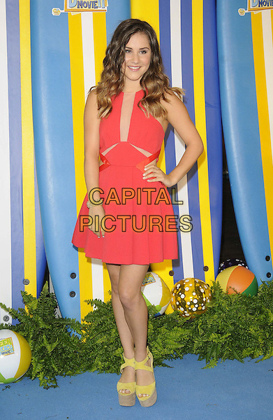 Electra Formosa<br /> The &quot;Teen Beach Movie&quot; VIP film screening, The Riverfront Cafe Bar, BFI, London, England.<br /> July 7th, 2013<br /> full length pink dress hand on hip yellow platform sandals shoes <br /> CAP/CAN<br /> &copy;Can Nguyen/Capital Pictures