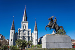 Saint Louis Cathedral and statue of Andrew Jackson in Jackson Square in New Orleans, Louisiana.