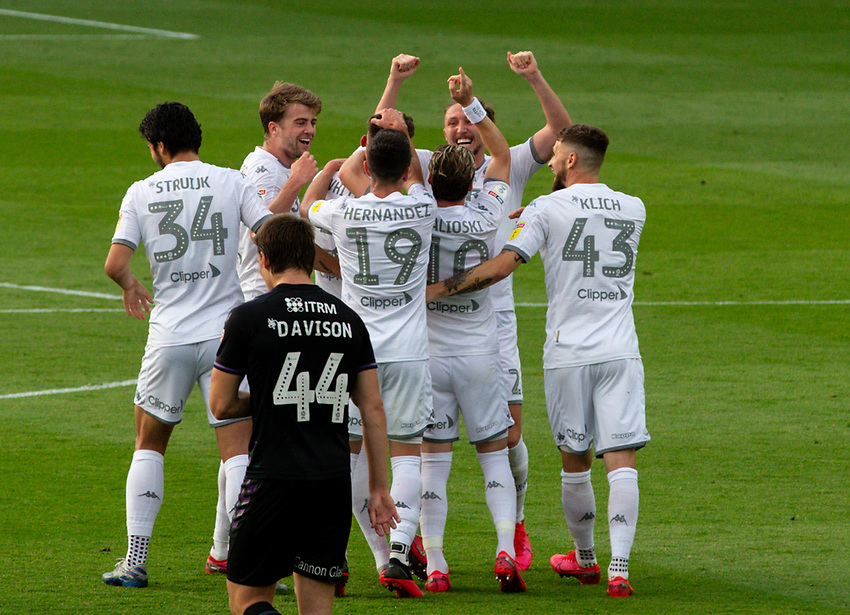 Leeds United's Ben White celebrates scoring his side's first goal with teammates<br /> <br /> Photographer Alex Dodd/CameraSport<br /> <br /> The EFL Sky Bet Championship - Leeds United v Charlton Athletic - Wednesday July 22nd 2020 - Elland Road - Leeds <br /> <br /> World Copyright © 2020 CameraSport. All rights reserved. 43 Linden Ave. Countesthorpe. Leicester. England. LE8 5PG - Tel: +44 (0) 116 277 4147 - admin@camerasport.com - www.camerasport.com