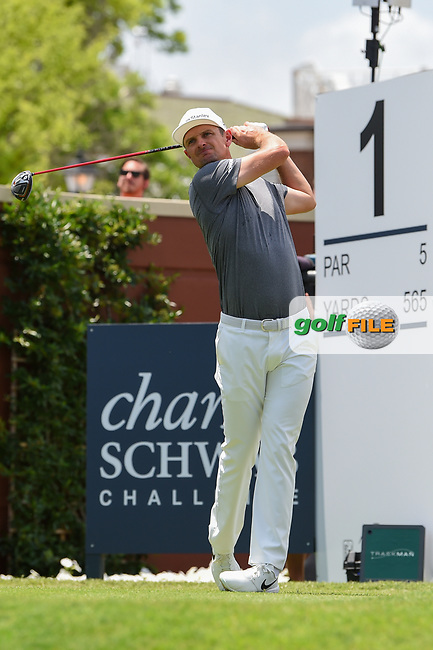 Justin Rose (GBR) watches his tee shot on 1 during round 1 of the 2019 Charles Schwab Challenge, Colonial Country Club, Ft. Worth, Texas,  USA. 5/23/2019.<br /> Picture: Golffile | Ken Murray<br /> <br /> All photo usage must carry mandatory copyright credit (© Golffile | Ken Murray)
