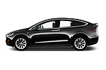 Car Driver side profile view of a 2017 Tesla Model-X 75D 5 Door SUV Side View