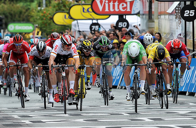 Green Jersey Mark Cavendish (GBR) Dimension Data pips Andre Greipel (GER) Lotto-Soudal by millimetres at the finish line of Stage 3 of the 2016 Tour de France, running 223.5km from Granville to Angers, France . 4th July 2016.<br /> Picture: Brian Hodes | Newsfile<br /> <br /> <br /> All photos usage must carry mandatory copyright credit (&copy; Newsfile | Brian Hodes)