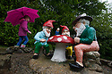 29/05/15<br /> <br /> Freya Kirkpatrick explores the gnome reserve.<br /> <br /> For one group of hardy folk, today's rain only adds to the fun that can be had by the beach, fishing in the river, or playing in the woods.<br /> <br /> The gnomes, and a few pixies and fairies, make up a collection, now believed to be close to 2,000 individuals, that 'live' at the Gnome Reserve near Bideford, North Devon.<br /> <br /> Visitors are asked to wear gnome hats, so as not to scare the gnomes who feature as the largest collection in the Guinness Book of World Records. <br /> <br /> Ann Atkin's collection began in 1979 and features traditional gnomes on toad-stools to Olympian athletes, astronauts who work for 'GNASA', a beach scene complete with gnomes in bikinis, a queue for the ice-cream van, Punch and Judy gnomes and another floating on a lilo. Other gnomes can be scene kissing, and flashing their bottoms as the visit the Gents and Ladies toilets. <br /> <br /> <br /> All Rights Reserved - F Stop Press.  www.fstoppress.com. Tel: +44 (0)1335 418629 +44(0)7765 242650