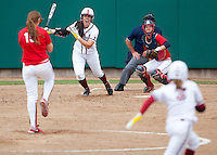 STANFORD, CA - April 2, 2011: Danielle Miller of Stanford softball hits during Stanford's game against Arizona at Smith Family Stadium. Stanford lost 6-1.