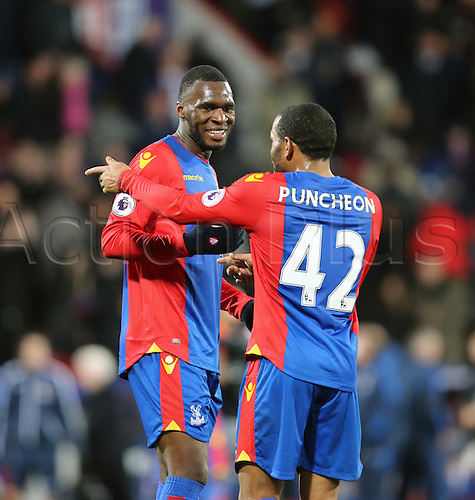 03.12.2016. Selhurst Park, London, England. Premier League Football. Crystal Palace versus Southampton. Jason Puncheon and Christian Benteke celebrate their goal