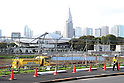 A view of the site for the new National Stadium and centrepiece for the Tokyo 2020 Olympic Games on October 18, 2016, Tokyo, Japan. The new stadium designed by Kengo Kuma is projected to cost $1.47 billion and construction has been delayed by design changes and attempts to prevent the budget for the Games spiraling out of hand. The Japanese government finally approved the a budget of $1.5 billion for the project at the end of September and construction is now expected to take three years concluding in November 2019. (Photo by Rodrigo Reyes Marin/AFLO)