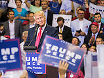 JACKSONVILLE, FL - AUGUST 03:  Republican presidential nominee Donald Trump arrives at the podium to speak at the Jacksonville Veterans Memorial Arena on August 3, 2016 in Jacksonville, Florida. (Photo by Mark Wallheiser/Getty Images)