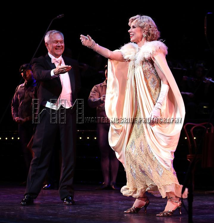 Walter Bobbie, Christine Baranski during the closing night Curtain Call for ENCORES! production of 'On Your Toes' at City Center in New York City on 5/12/2013..