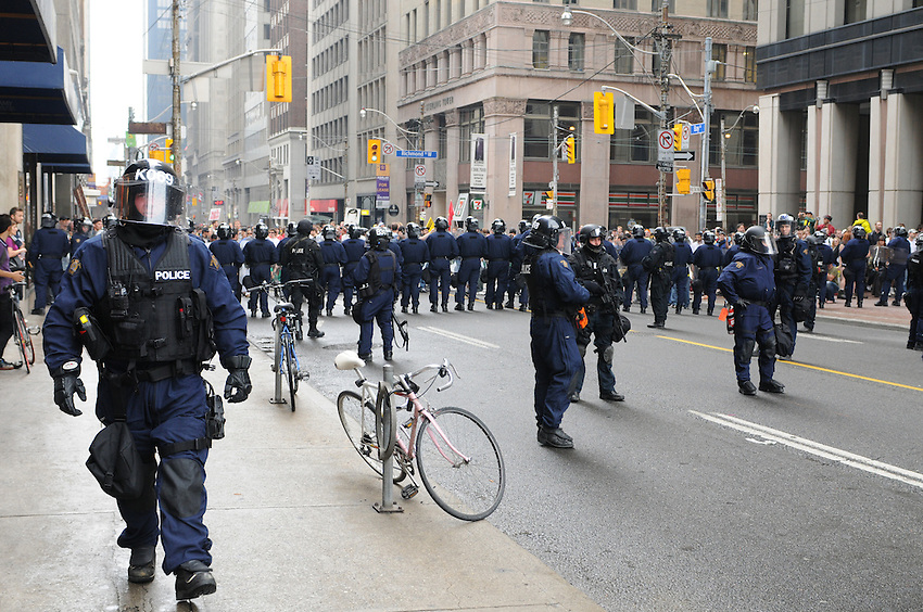 Toronto G 20 Protest Riot Police Front Line RCMP Police Presence G 20 Protest Front Line