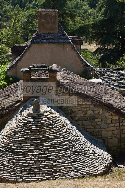 Europe/France/Midi-Pyrénées/46/Lot/Env de Sauliac-sur-Célé/Cuzals: Musée de plein air du Quercy, Détail toits de la ferme  du 19 éme