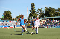 Cary, NC - Sunday October 22, 2017: Casey Short and Julie Ertz prior to an International friendly match between the Women's National teams of the United States (USA) and South Korea (KOR) at Sahlen's Stadium at WakeMed Soccer Park. The U.S. won the game 6-0.