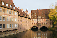 Stone buildings along Pegnitz River, Nuremberg, Germany