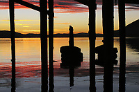 Waterfront view of Clear Lake at dawn, Lakeport, Lake County, California
