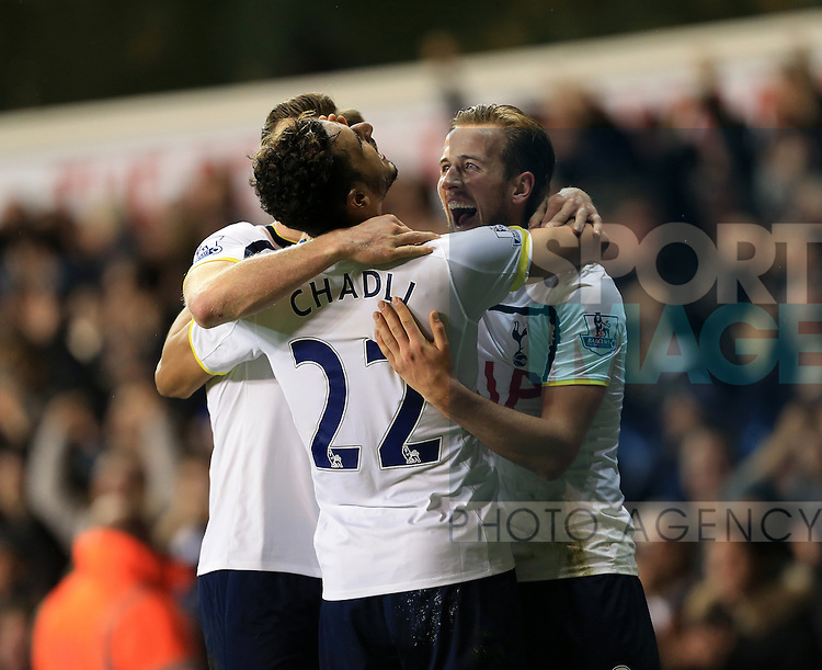 Tottenham's Harry Kane celebrates with goalscorer Nacer Chadli<br /> <br /> Barclays Premier League - Tottenham Hotspur vs Chelsea - White Hart Lane  - England - 1st January 2015 - Picture David Klein/Sportimage