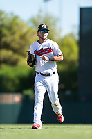 Glendale Desert Dogs right fielder Connor Marabell (4), of the Cleveland Indians organization, jogs off the field between innings of an Arizona Fall League game against the Mesa Solar Sox at Camelback Ranch on October 15, 2018 in Glendale, Arizona. Mesa defeated Glendale 8-0. (Zachary Lucy/Four Seam Images)