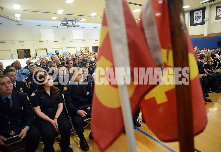 More then 100 firefighters graduate from the Bucks County Public Safety Training Center Tuesday May 19, 2015 at Bucks County Community College in Newtown, Pennsylvania. (Photo by William Thomas Cain/Cain Images)