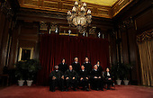 The Supreme Court Justices of the United States sit for a formal group photo in the East Conference Room of the Supreme Court in Washington on Friday, October 8, 2010. The Justices are (front row from left) Clarence Thomas, Antonin Scalia, John G. Roberts (Chief Justice), Anthony Kennedy, Ruth Bader Ginsburg; (back row from left) Sonia Sotomayor, Stephen Breyer, Sameul Alito and Elena Kagan, the newest member of the Court.   .Credit: Roger L. Wollenberg - Pool via CNP