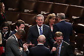 United States House Minority Leader Kevin McCarthy (Republican of California) speaks with colleagues prior to US President Donald J. Trump delivering his second annual State of the Union Address to a joint session of the US Congress in the US Capitol in Washington, DC on Tuesday, February 5, 2019.<br /> Credit: Alex Edelman / CNP