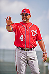 24 February 2019: Washington Nationals Manager Dave Martinez waves to a fan prior to a Spring Training game against the St. Louis Cardinals at Roger Dean Stadium in Jupiter, Florida. The Nationals defeated the Cardinals 12-2 in Grapefruit League play. Mandatory Credit: Ed Wolfstein Photo *** RAW (NEF) Image File Available ***
