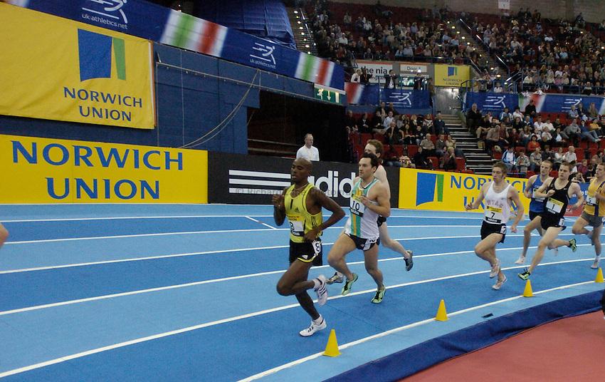 Photo: Richard Lane..Norwich Union Indoor Grand Prix, Birmingham. 17/02/2007. .Mo Farah leads the Devil's one mile.