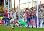 Jack O'Connell of Sheffield Utd claims the ball crossed the line after it was dropped by Vicente Guaita of Crystal Palace for the the first goal during the Premier League match at Selhurst Park, London. Picture date: 1st February 2020. Picture credit should read: Paul Terry/Sportimage