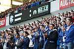 Rangers fans have a round of applause on the second minute to mark a year after the passing of Sandy Jardine
