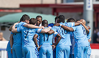 Celeb FC pre match team huddle during the 'Greatest Show on Turf' Celebrity Event - Once in a Blue Moon Events at the London Borough of Barking and Dagenham Stadium, London, England on 8 May 2016. Photo by Andy Rowland.