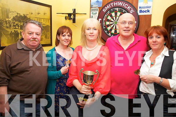 The ladies team from the Shebeen Car Cahersiveen are the South Kerry Darts Champions, pictured here l-r; Tony Horgan, Pauline Coffey, Catriona Fitzgerald, Philip O'Sullivan & Monica O'Shea.