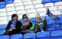Pictured: A woman with two young girls Everton supporters. Sunday 16 February 2014<br />