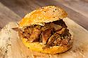 Prime rib sandwich on a bun