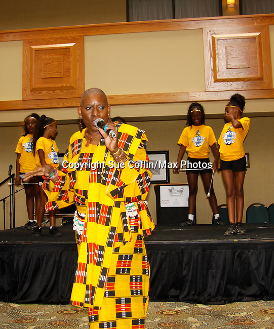 Nana Rucker with performers - The National Black Theatre Festival with a week of plays, workshops and much more with an opening night gala of dinner, awards presentation followed by Black Stars of the Great White Way followed by a celebrity reception. It is an International Celebration and Reunion of Spirit. (Photo by Sue Coflin/Max Photos)