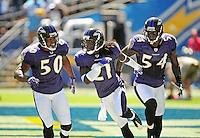 Sep. 20, 2009; San Diego, CA, USA; Baltimore Ravens linebacker (50) Antwan Barnes , cornerback (21) Lardarius Webb and linebacker (54) Prescott Burgess against the San Diego Chargers at Qualcomm Stadium in San Diego. Baltimore defeated San Diego 31-26. Mandatory Credit: Mark J. Rebilas-