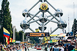 The Atomium finish of Stage 2 of the 2019 Tour de France a Team Time Trial running 27.6km from Bruxelles Palais Royal to Brussel Atomium, Belgium. 7th July 2019.<br /> Picture: ASO/| Cyclefile<br /> All photos usage must carry mandatory copyright credit (© Cyclefile | ASO/Thomas Maheux)