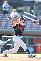 Jeff Gelalich #15 of the Bakersfield Blaze bats against the Inland Empire 66ers at San Manuel Stadium on August 21, 2014 in San Bernardino, California. Inland Empire defeated Bakersfield, 3-1. (Larry Goren/Four Seam Images)