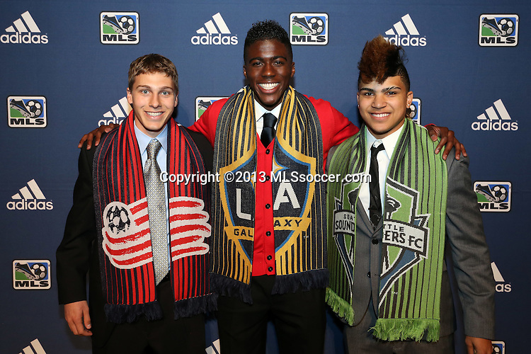January 17th, 2013: Homegrown signings (from left) Scott Caldwell by the New England Revolution, Gyasi Zardes by the Los Angeles Galaxy, and DeAndre Yedlin by the Seattle Sounders FC. The 2013 MLS SuperDraft was held during the NSCAA Annual Convention held in Indianapolis, Indiana.