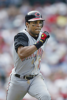 Barry Larkin of the Cincinnati Reds runs to first base during a 2002 MLB season game against the Los Angeles Angels at Angel Stadium, in Anaheim, California. (Larry Goren/Four Seam Images)