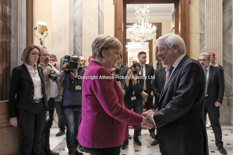 Pictured: German Chancellor Angela Merkel Greek President Prokopis Pavlopoulos at the Presidential Mansion (Proedriko Megaro) in Athens, Greece.<br /> Re: Official visit of German Chancellor Angela Merkel  to Athens, Greece.
