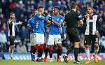 02.02.2019 Rangers v St Mirren: Alfredo Morelos tries to wrestle the ball from penalty taker James Tavernier
