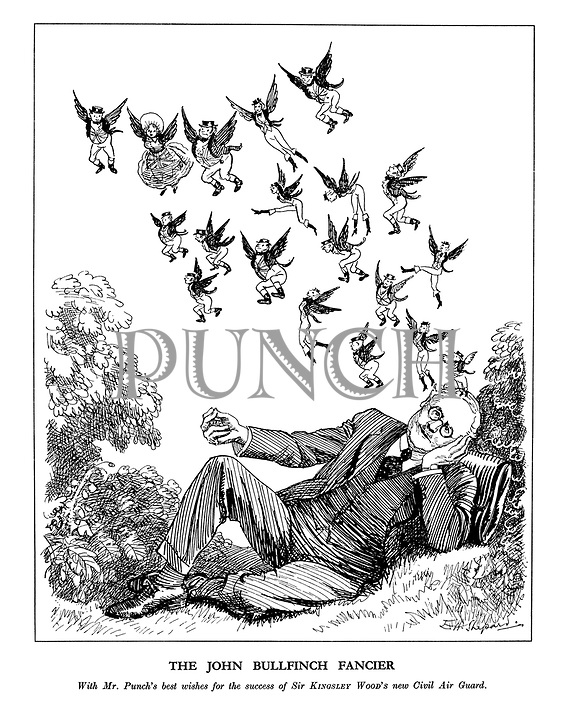 The John Bullfinch Fancier. With Mr.Punch's best wishes for the success of Sir Kingsley Woods new Civil Air Guard.