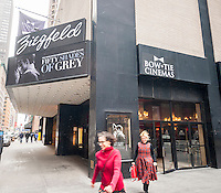 "The marquee of the Ziegfeld Theater in New York promotes the film ""Fifty Shades of Grey"" on its opening weekend on Valentine's Day, Saturday, February 14, 2015. Analysts are predicting at least a $91 million box office over four-days possibly making it the highest grossing R-rated film in history. (© Richard B. Levine)"