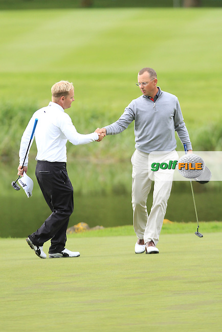 Niclas Fasth (SWE) and Soren Kjeldsen (DEN) on the 18th green after finishing Saturday's Round 3 of the 2016 Dubai Duty Free Irish Open Hosted by The Rory Foundation which is played at the K Club Golf Resort, Straffan, Co. Kildare, Ireland. 21/05/2016. Picture Golffile | TJ Caffrey.<br /> <br /> All photo usage must display a mandatory copyright credit as: &copy; Golffile | TJ Caffrey.