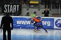 SCHAATSEN: DORDRECHT: Sportboulevard, Korean Air ISU World Cup Finale, 12-02-2012, Start Final C 500m Men, Freek van der Wart NED (63), Viktor Knoch HUN (33), ©foto: Martin de Jong