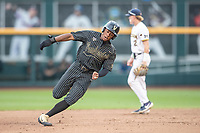 Vanderbilt Commodores second baseman Harrison Ray (2) races around second base against the Michigan Wolverines during Game 2 of the NCAA College World Series Finals on June 25, 2019 at TD Ameritrade Park in Omaha, Nebraska. Vanderbilt defeated Michigan 4-1. (Andrew Woolley/Four Seam Images)
