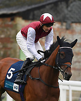 Fanny Logan ridden by Robert Havlin goes down to the start of The British Stallion Studs EBF Upavon Fillies' Stakes during Horse Racing at Salisbury Racecourse on 14th August 2019